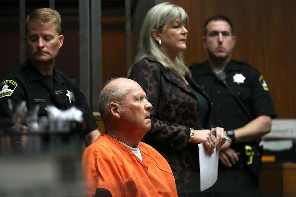"SACRAMENTO, CA - APRIL 27: Joseph James DeAngelo, the suspected ""Golden State Killer"", appears in court for his arraignment on April 27, 2018 in Sacramento, California. DeAngelo, a 72-year-old former police officer, is believed to be the the East Area Rapist who killed at least 12 people, raped over 45 women and burglarized hundreds of homes throughout California in the 1970s and 1980s. (Photo by Justin Sullivan/Getty Images)"