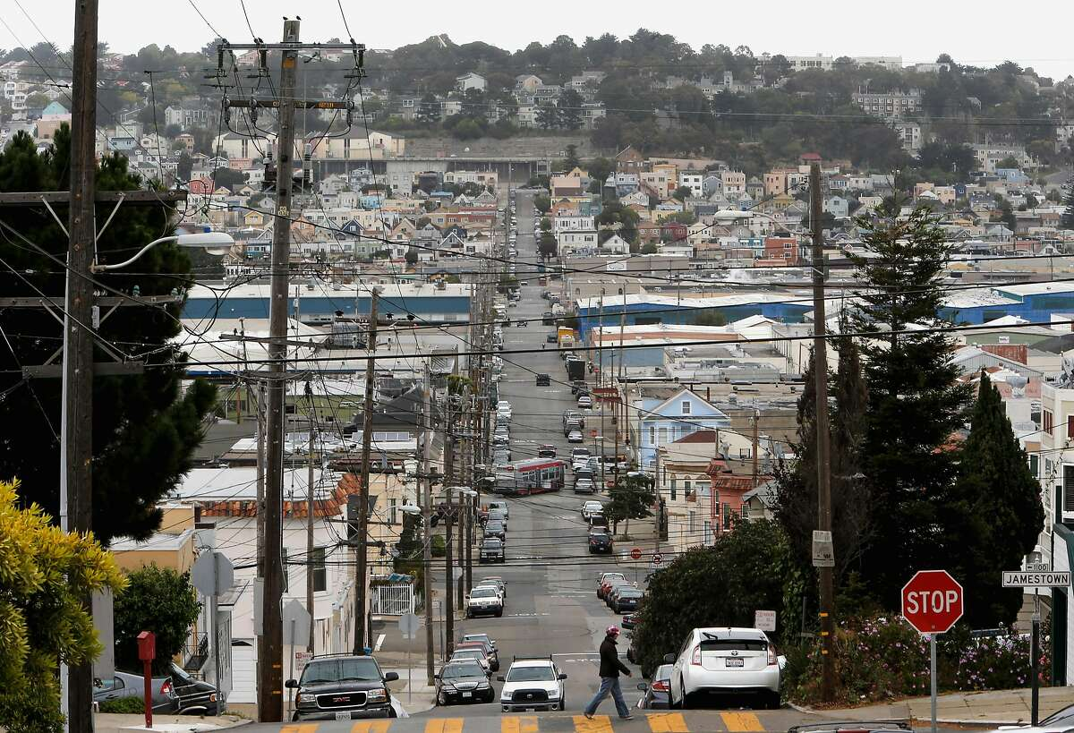 Looking east down Ingalls St. in the Bayview Hunters Point neighborhood in San Francisco.