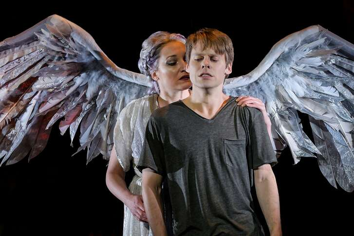"Francesca Faridany as the Angel and Randy Harrison as Prior Walter in Berkeley Repertory Theatre�s production of ""Angels in America, Part Two: Perestroika."""