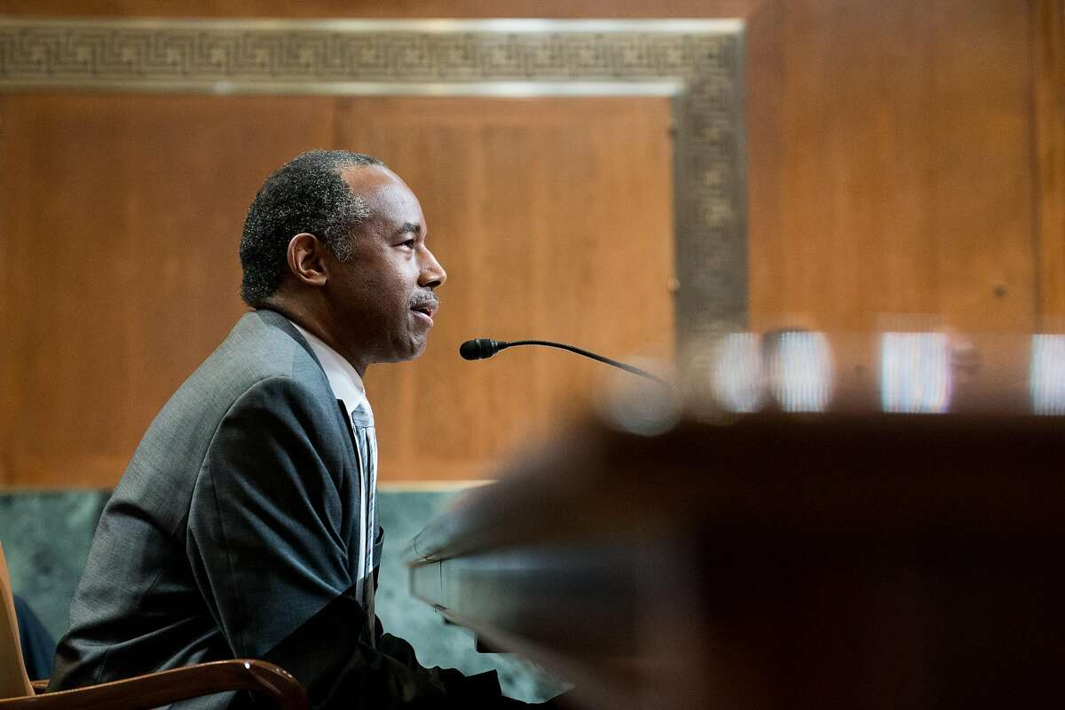 FILE -- Housing and Urban Development Secretary Ben Carson testifies at a Senate Appropriations subcommittee hearing on Capitol Hill in Washington, April 18, 2018. Carson's aides have drafted a proposal for legislation that could triple rents on the poorest tenants in federally-subsidized housing. (Erin Schaff/The New York Times)