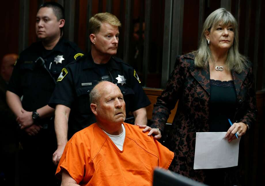 Joseph DeAngelo appears in a Sacramento County courtroom with his public defender Diane Howard for his arraignment on multiple rape and murder charges in Sacramento, Calif. on Friday, April 27, 2018. Authorities believe DeAngelo is the East Area Rapist and Golden State Killer who committed numerous crimes from 1976 to 1986. Photo: Paul Chinn / The Chronicle