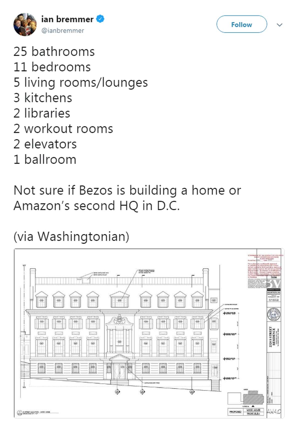 Amazon founder Jeff Bezos' renovated Washington, D.C., mansion sports 25 bathrooms, 11 bedrooms, five living rooms/lounges, five staircases and three kitchens, among a litany of features.