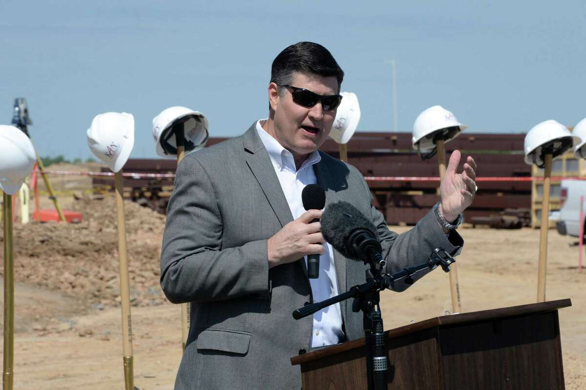 Dr. Lance Hindt, Katy ISD Superintendent, welcomes attendees to the groundbreaking ceremony for the Katy ISD Agricultural Sciences Center in Katy, TX on Friday, April 27, 2018.