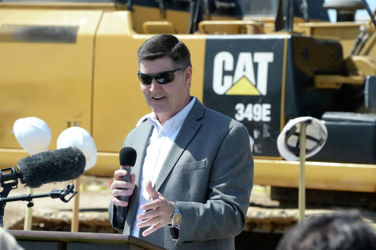 Dr. Lance Hindt, Katy ISD Superintendent, welcomes attendees to the groundbreaking ceremony for the Katy ISD Agricultural Sciences Center in Katy on Friday, April 27, 2018.