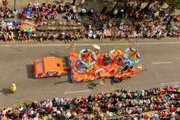 """Battle of Flowers Parade: Elaborately decorated floats, high school marching bands and Fiesta royalty in glimmering gowns showing their shoes will take over downtown during the Battle of the Flowers Parade. More than 45,000 seats are sold annually for the parade, the proceeds of which help fund multiple nonprofit organizations around the city. The parade, which commemorates the battle of San Jacinto, is one of the only parades organized by an all-female group of volunteers. This year's theme is """"For the Love of Texas!"""" 9:30 a.m.-2:30 p.m. Friday, parade route. $12-$25, battleofflowers.org"""