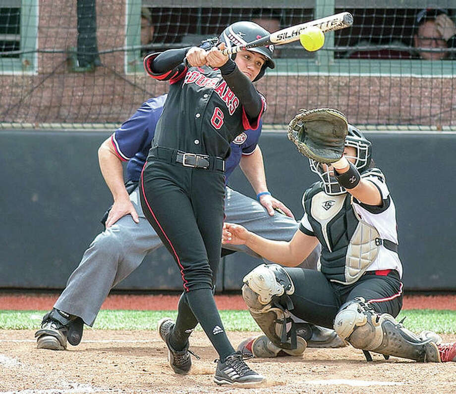 SIUE freshman shortstop Alana Cobb-Adams is second among Ohio Valley Conference starters in league play with a .459 batting average. She broke hit her first home run last week, along with five doubles as the Cougars finished last week 5-1 in OVC play. Photo:       SIUE Athletics