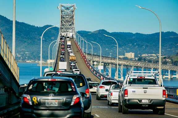 Vehicles on the Richmond-San Rafael Bridge during rush hour in San Rafael, Calif. are seen on March 29th, 2018.