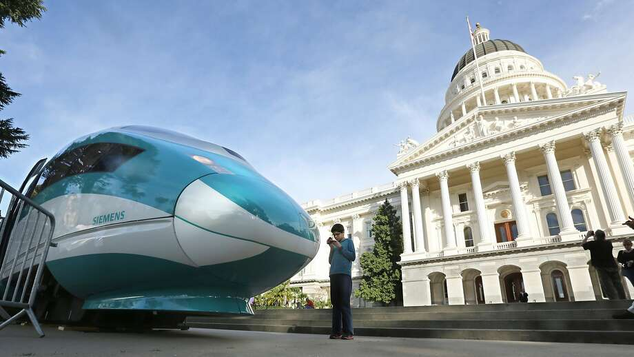 A mock-up of a high-speed train sits outside the state Capitol. Photo: Rich Pedroncelli / Associated Press 2015