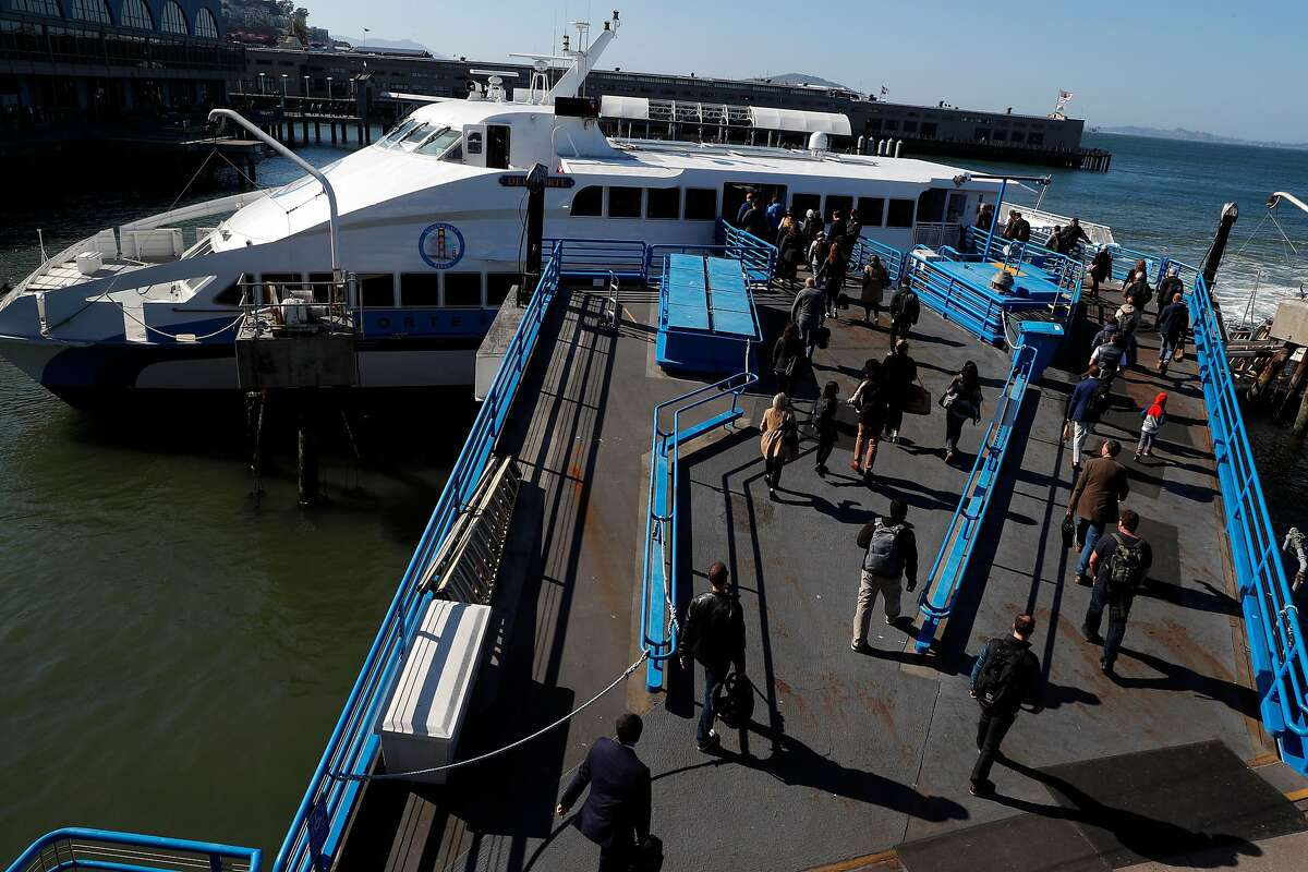 Commuters board the ferry to Larkspur before departure from the Ferry Building, in San Francisco, Calif., on Thursday, April 26, 2018. Commuting by ferry remains popular and often crowded during heavy commute hours.