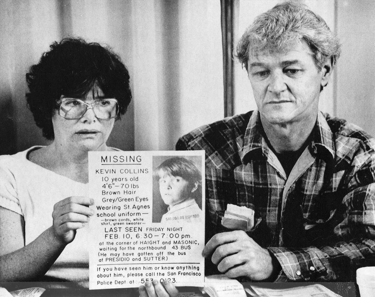 Ann and David Collins, parents of Kevin Collins, hold one of their missing posters during a news conference March 2, 1984, in San Francisco.