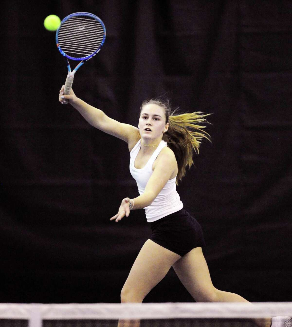 Greenwich Academy's Karina Toub in her match against Sacred Heart's Stephanie Beshoory on Friday.