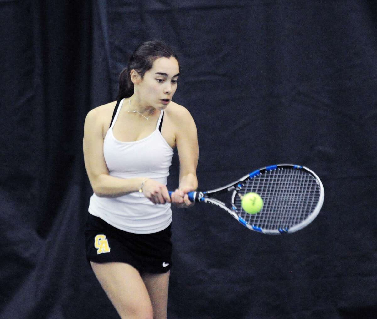 Emma Carney of Greenwich Academy during her match against Grace Coale of Sacred Heart in the girls high shool tennis match between Sacred Heart Greenwich and Greenwich Academy at Sound Shore Indoor Tennis Center in Port Chester, N.Y., Friday, April 27, 2018.