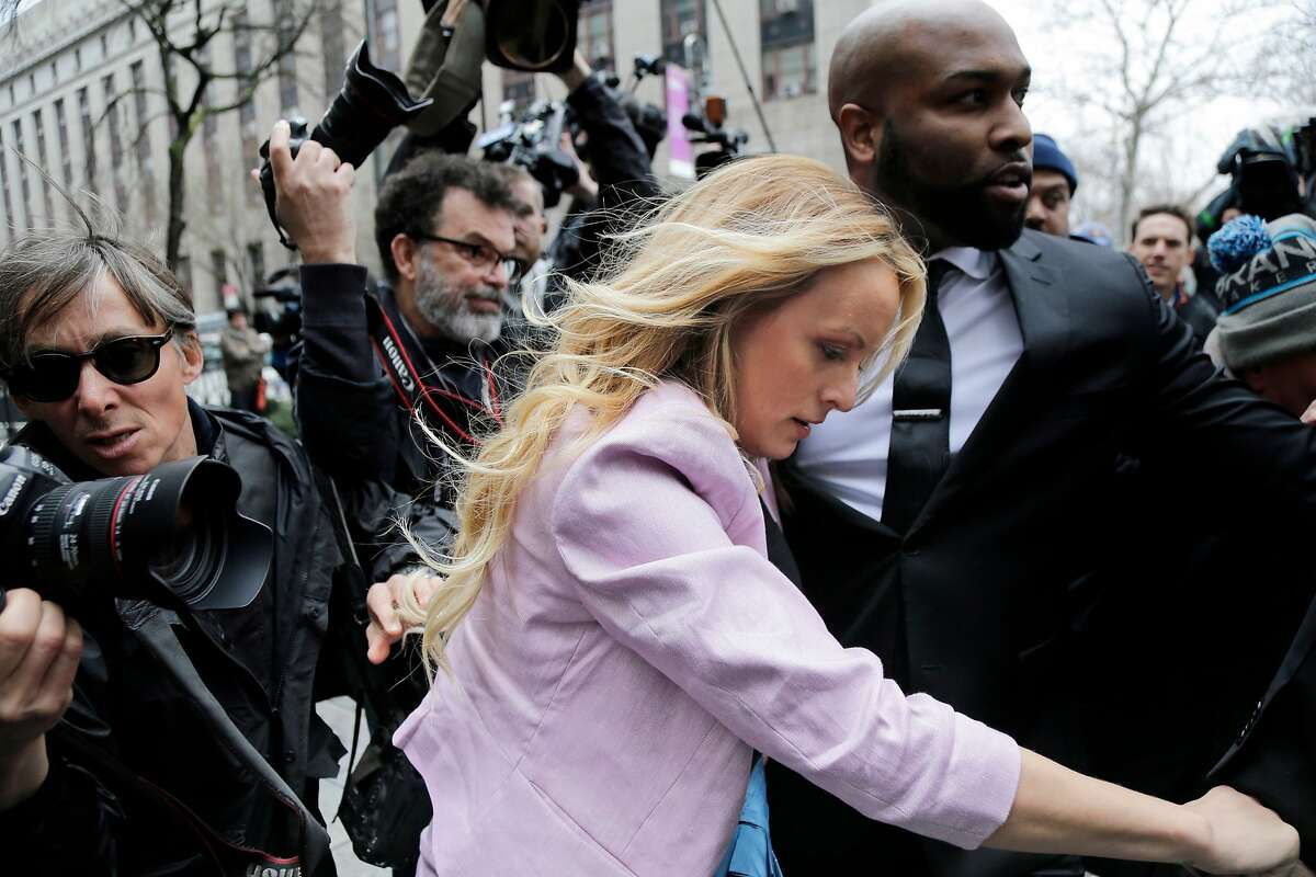 Porn actress Stormy Daniels arrives at federal court in New York, Monday, April 16, 2018, to attend a court hearing where a federal judge is considering how to review materials that the FBI seized from President Donald Trump's personal lawyer to determine whether they should be protected by attorney-client privilege. (AP Photo/Seth Wenig)