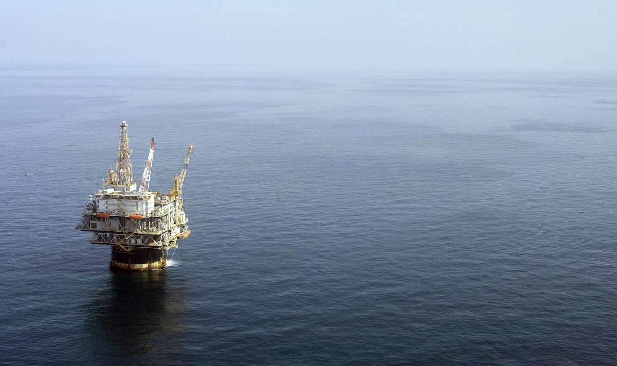 In this photo taken Aug. 19, 2008, the Chevron Genesis Oil Rig Platform is seen in the Gulf of Mexico near New Orleans, La.