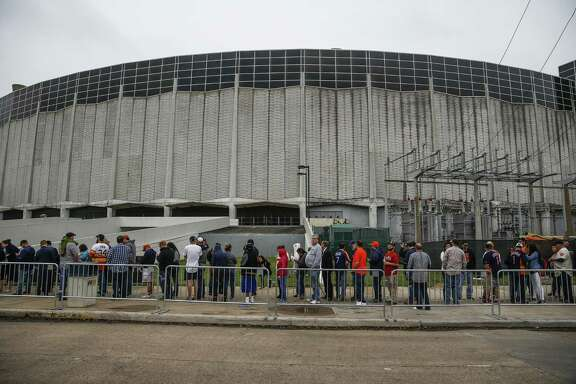 Houstonians in line to enter the world famous Astrodome April 9 for Domecoming, a celebration of the building's 53rd anniversary.