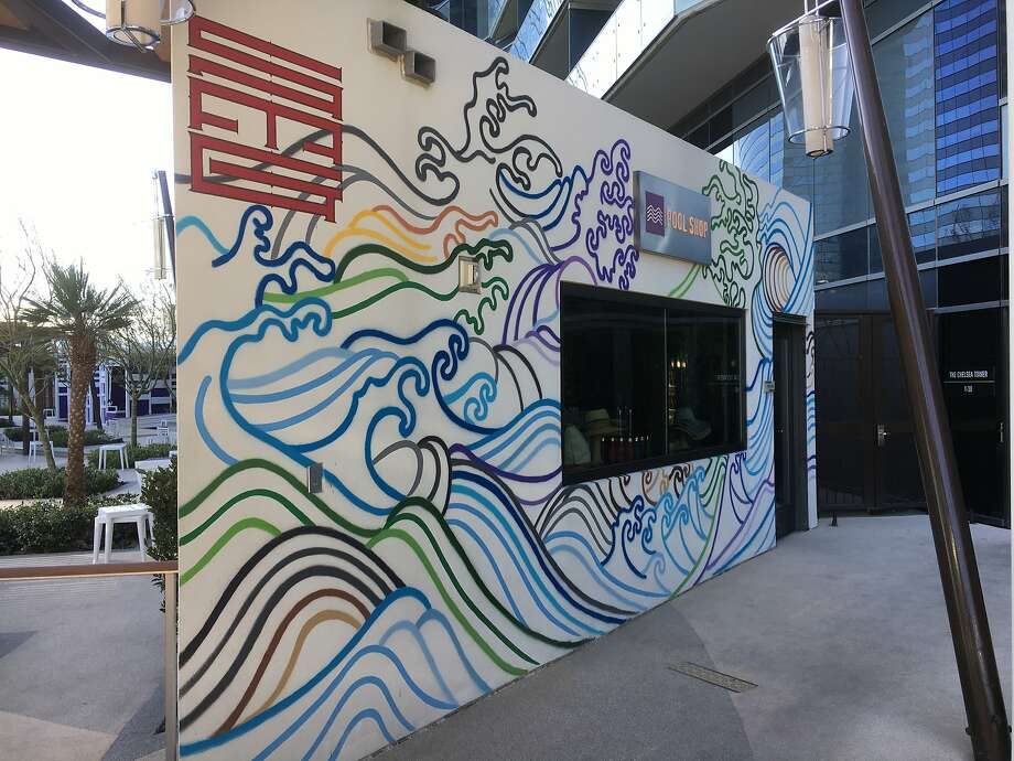 """""""Waves,"""" a mural by artist Such Machida, is one of the sites on a mural walking tour around the Cosmopolitan resort in Las Vegas. The guide for the tour is a texting chatbot that responds to questions and gives information about the artists. Photo: Spud Hilton / The Chronicle"""