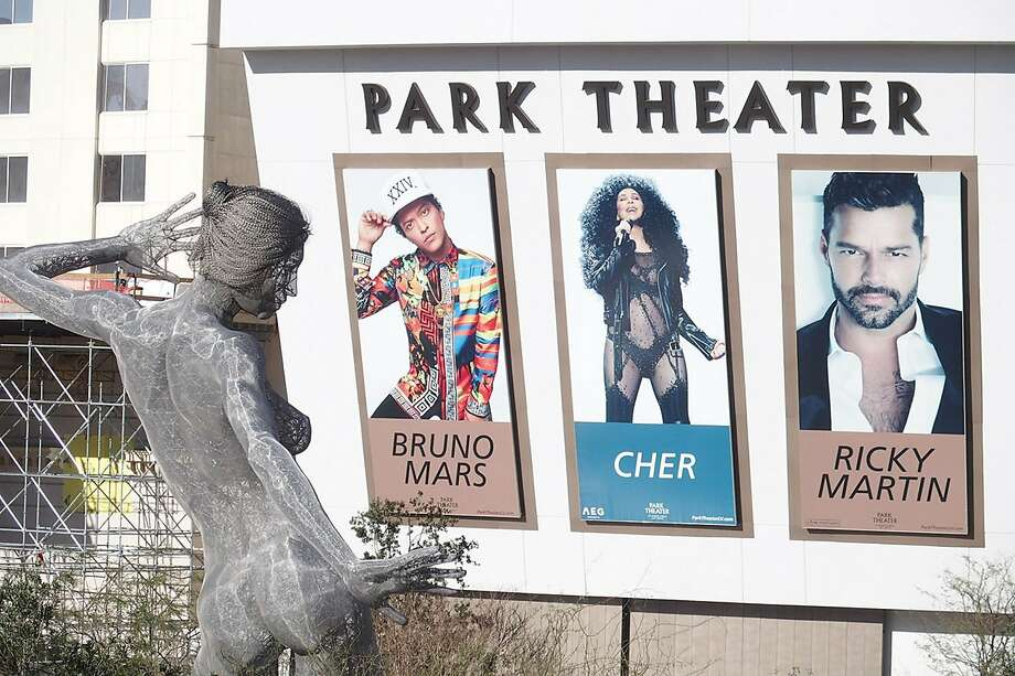 The Bliss Dance sculpture stands in the Park near the Park Theater in Las Vegas. The new theater is one of the few midsize venues for concerts. Photo: Spud Hilton / The Chronicle