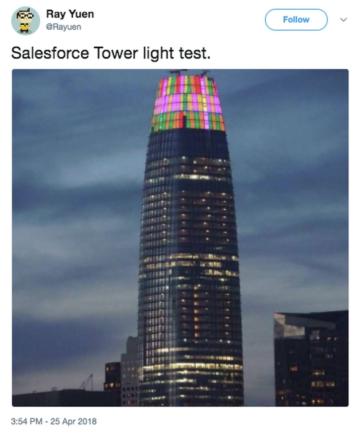 Salesforce Tower on April 25, 2018: Lights glowing at the crown.
