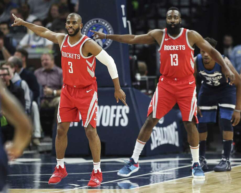 "Chris Paul, left, and James Harden make it a point to ""worry about us"" instead of the next opponent on the Rockets' plate. Photo: Michael Ciaglo, Houston Chronicle / Houston Chronicle / Michael Ciaglo"