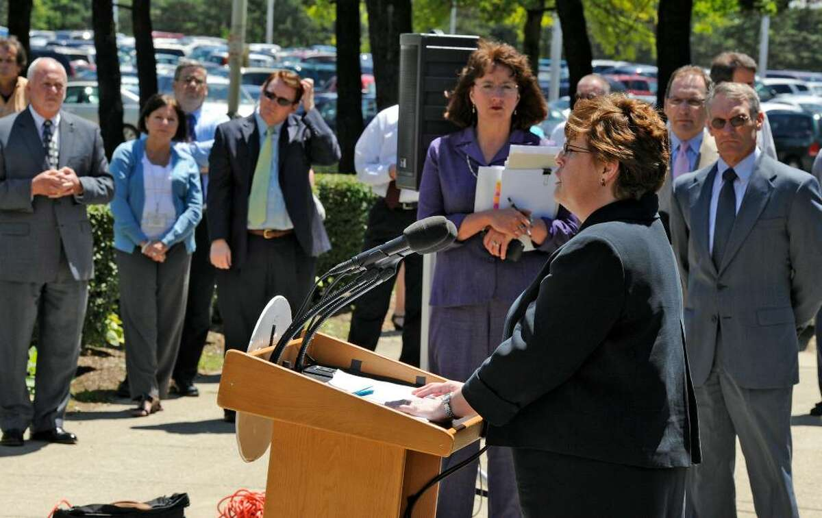 State Labor Commissioner Colleen Gardner briefs the media about the governor's bill to increase unemployment payments Wednesday outside her office in Albany. New York lags far behind neighboring states in payments of benefits to unemployed workers. (Skip Dickstein/Times Union)