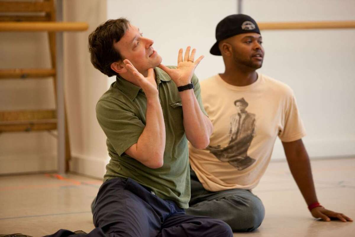Jeremy Shamos and Chivas Michael rehearse for ?Forum? at the New 42nd Street Studios in New York City. (Sam Hough)