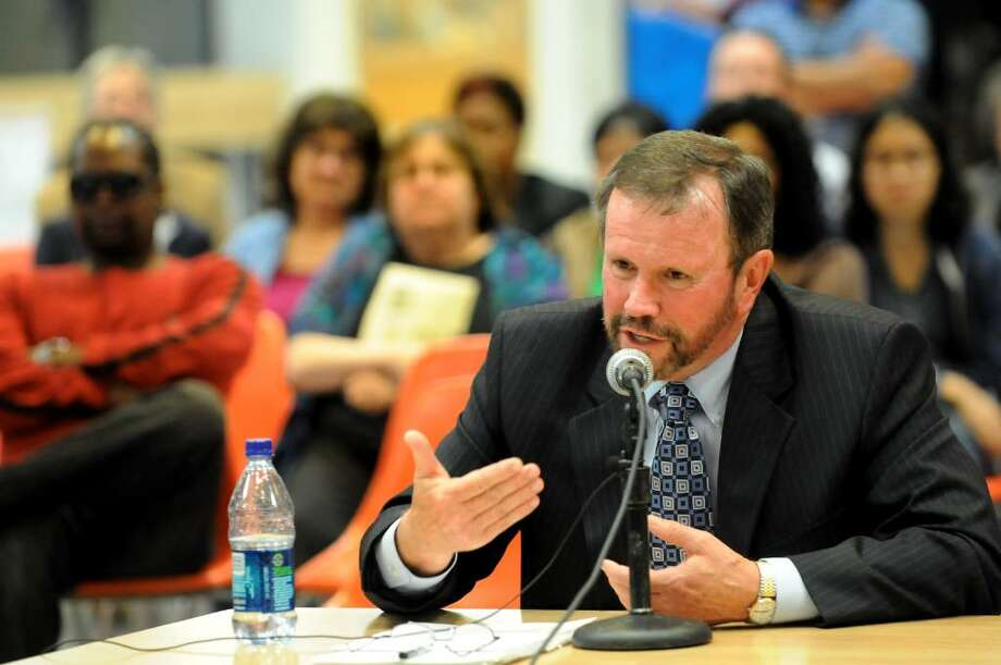 Brian Howard, educational expert, takes questions from the Albany Board of Education about his report on Thursday, July 1, 2010, at Albany High in Albany, N.Y. (Cindy Schultz / Times Union) Photo: CINDY SCHULTZ
