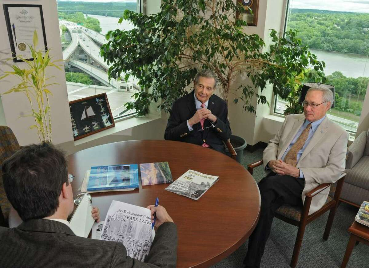 Times Union reporter Brian Nearing, left, interviews Henry Diamond, the first commissioner of the state Department of Environmental Conservation and DEC Commissioner Pete Grannis at DEC headquarters in Albany. (Lori Van Buren / Times Union)
