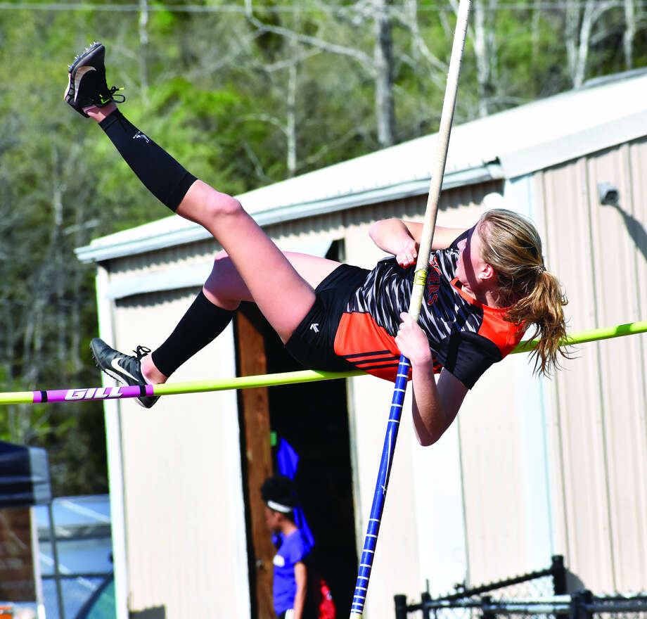 Edwardsville's Emma Herman competes in the pole vault during the Collinsville Invitational on Friday.