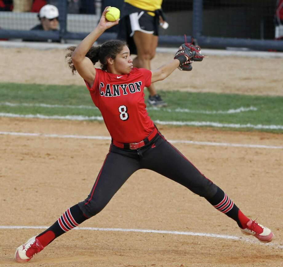 New Braunfels Canyon's Aliyah Pritchett pitches against  Brennan during their UIL Class 6A bidistrict game held Friday April 27, 2018 at St. Mary's University. New Braunfels Canyon won 6-4 in eight innings. Photo: Edward A. Ornelas, Staff / San Antonio Express-News / © 2018 San Antonio Express-News