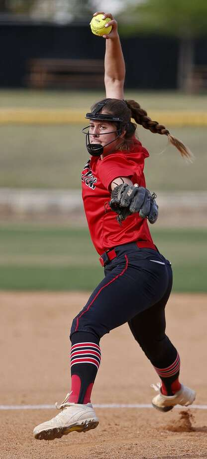 New Braunfels Canyon's Brooke Vestal pitches against Brennan during their UIL Class 6A bidistrict game held Friday April 27, 2018 at St. Mary's University. New Braunfels Canyon won 6-4 in eight innings. Photo: Edward A. Ornelas, Staff / San Antonio Express-News / © 2018 San Antonio Express-News