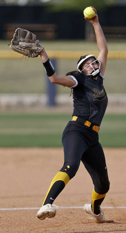 Brennan's Sierra Schottler pitches against New Braunfels Canyon during their UIL Class 6A bidistrict game held Friday April 27, 2018 at St. Mary's University. New Braunfels Canyon won 6-4 in eight innings. Photo: Edward A. Ornelas, Staff / San Antonio Express-News / © 2018 San Antonio Express-News