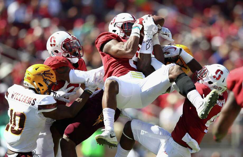 Justin Reid (8) had five interceptions last season for Stanford, and he recorded 99 tackles. He was named All-Pac 12. Photo: Ezra Shaw, Staff / Getty Images / 2017 Getty Images