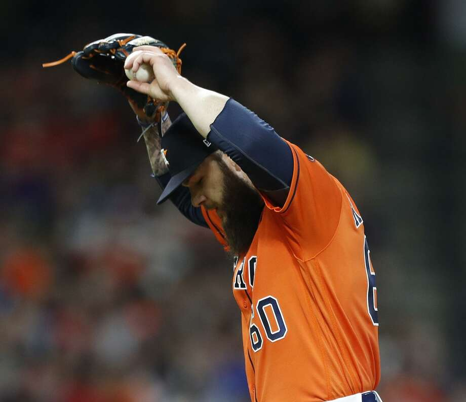 Astros starting pitcher Dallas Keuchel reacts after giving up a two-run home run to Oakland's Mark Canha. Keuchel gave up six runs in seven innings. Photo: Karen Warren, Staff / Houston Chronicle / © 2018 Houston Chronicle
