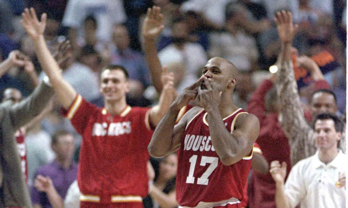 Mario Elie blows what became known as the 'Kiss of Death' to Phoenix after his 3-pointer in Game 7 in 1995.