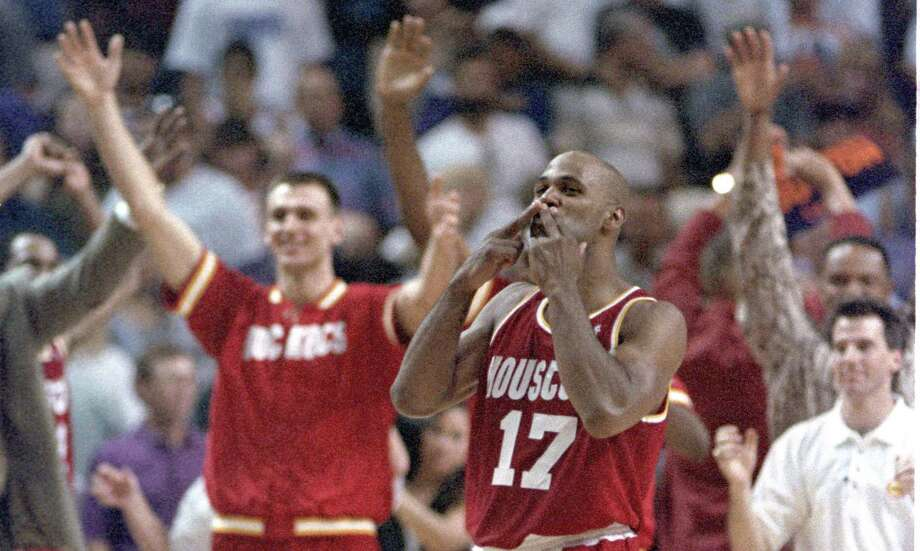 Mario Elie does the kiss of death. NBA Basketball Western Conference semifinals game, Rockets vs Suns at America West Arena. Sat. May 20, 1995 © Houston Chronicle Photo: Richard Carson, HC Staff / Houston Chronicle / Houston Chronicle
