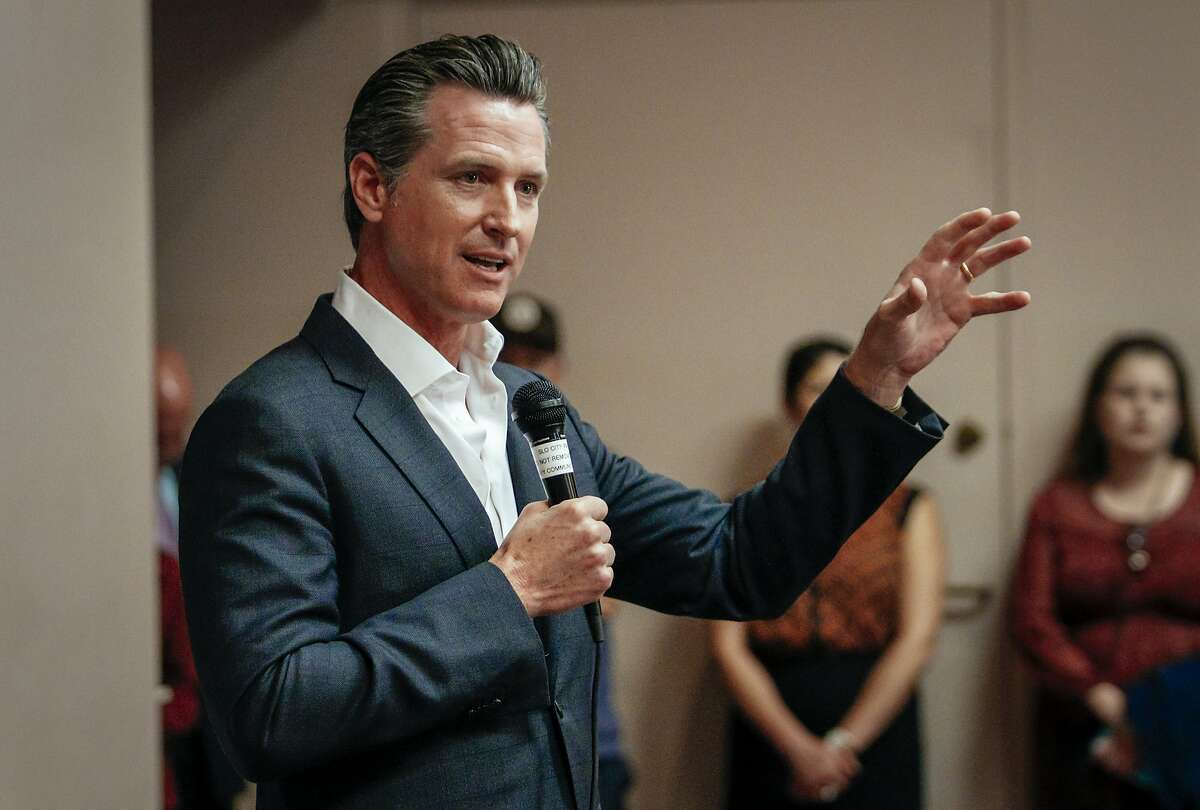 California gubernatorial candidate Gavin Newsom speaks with residents during a packed meet and greet in the San Luis Obispo, Calif., Wednesday, April 25, 2018. (Joe Johnston/The Tribune (of San Luis Obispo) via AP)