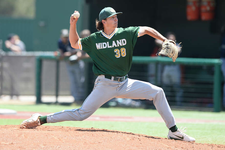 Midland College's Chandler Eaton pitches against Frank Phillips College April 28, 2018, at Christensen Stadium. James Durbin/Reporter-Telegram Photo: James Durbin