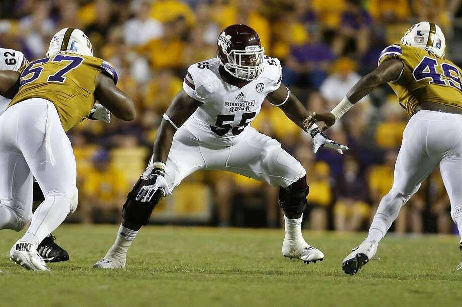 BATON ROUGE, LA - SEPTEMBER 17: Martinas Rankin #55 of the Mississippi State Bulldogs blocks during a game at Tiger Stadium on September 17, 2016 in Baton Rouge, Louisiana.  (Photo by Jonathan Bachman/Getty Images) Photo: Jonathan Bachman/Getty Images