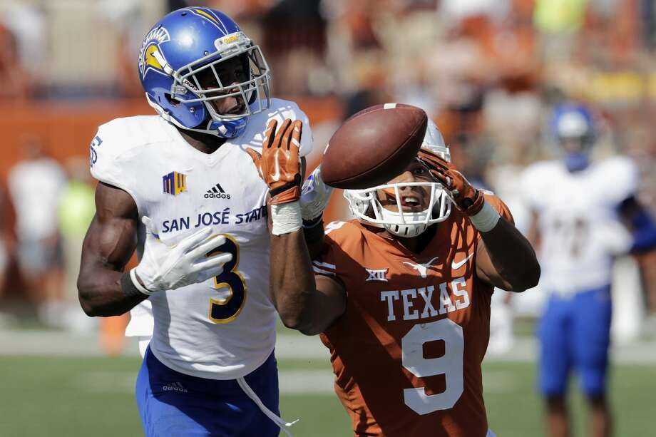 AUSTIN, TX - SEPTEMBER 09:  Jermaine Kelly #3 of the San Jose State Spartans defends a pass intended for Collin Johnson #9 of the Texas Longhorns in the third quarter at Darrell K Royal-Texas Memorial Stadium on September 9, 2017 in Austin, Texas.  (Photo by Tim Warner/Getty Images) Photo: Tim Warner/Getty Images