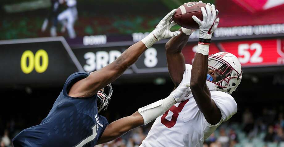 SYDNEY, NEW SOUTH WALES - AUGUST 27: Justin Reid of Stanford catches the ball as Justin Bickham of Rice attempts to spoil during the College Football Sydney Cup match between Stanford University (Stanford Cardinal) and Rice University (Rice Owls) at Allianz Stadium on August 27, 2017 in Sydney, Australia.  (Photo by Brook Mitchell/Getty Images) Photo: Brook Mitchell/Getty Images