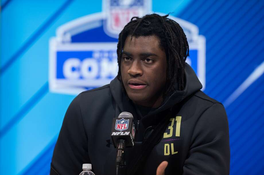 INDIANAPOLIS, IN - MARCH 03: Wake Forest defensive lineman Duke Ejiofor answers questions from the media during the NFL Scouting Combine on March 3, 2018 at the Indiana Convention Center in Indianapolis, IN. (Photo by Zach Bolinger/Icon Sportswire via Getty Images) Photo: Icon Sportswire/Icon Sportswire Via Getty Images