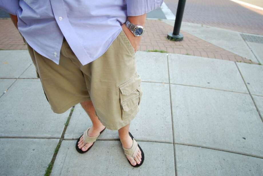 Nick Baratto, 25, of Latham, NY, favors the soft texture of his Old Navy cargo shorts. Photo: Kayla Galway / 00008923A