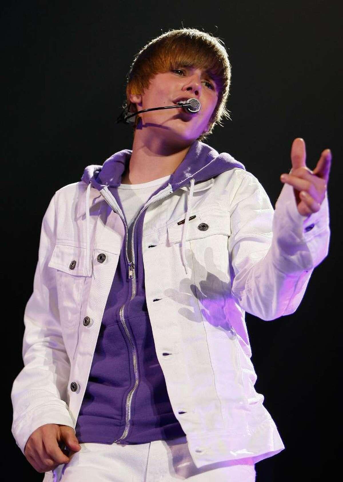 In this June 24, 2010, file photo, Justin Bieber performs in Trenton, N.J. (Tim Larsen / Associated Press)