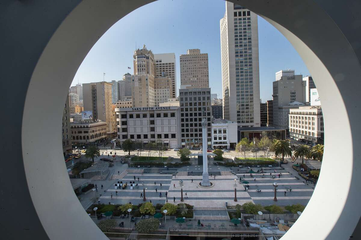 """Union Square as viewed through the """"a"""" in the Macy's sign on Wednesday, April 25, 2018 in San Francisco, CA. The Union Square Business Improvement District had installed 350 survelliance cameras to help protect the area."""