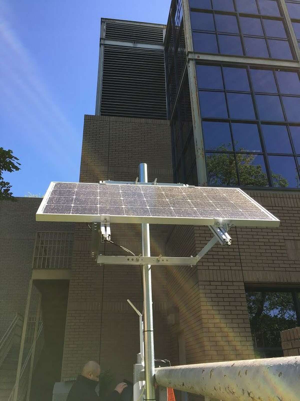 A prototype for a solar mesh Wi-Fi system is in use in the backyard of the San Antonio Housing Authority's headquarters at 818 South Flores St.