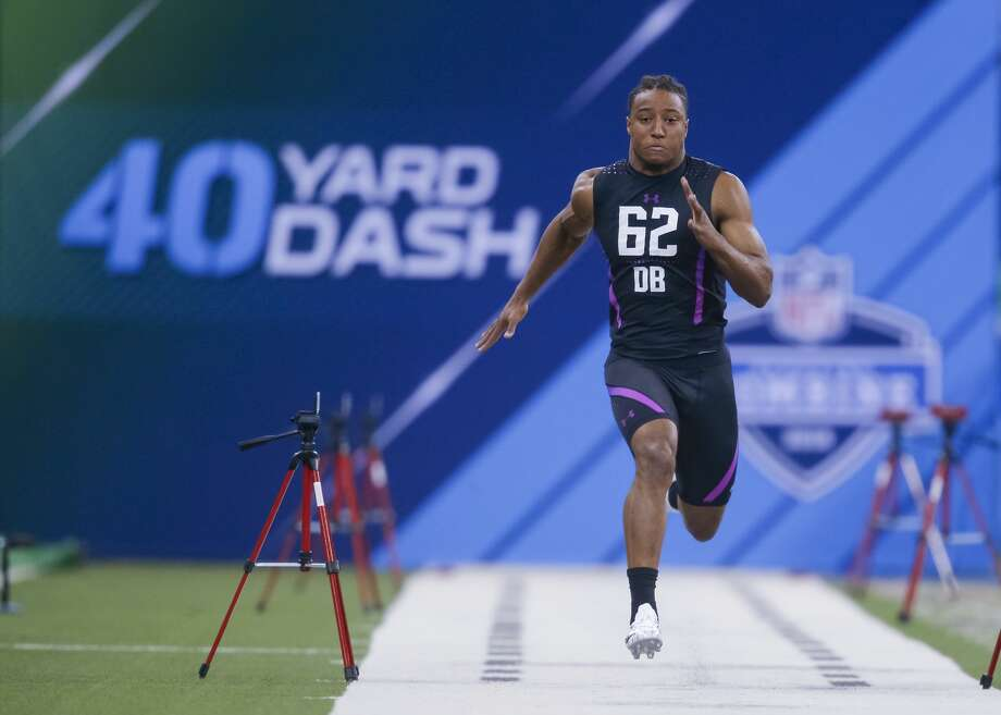 INDIANAPOLIS, IN - MARCH 05: Stanford defensive back Justin Reid (DB62) runs the 40 yard dash during the NFL Scouting Combine at Lucas Oil Stadium on March 5, 2018 in Indianapolis, Indiana. (Photo by Michael Hickey/Getty Images) Photo: Michael Hickey/Getty Images