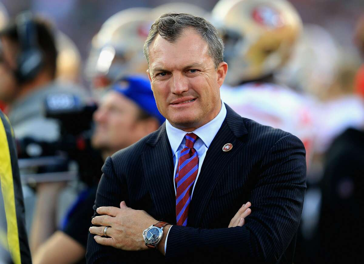 General Manager John Lynch of the San Francisco 49ers looks on from the sidelines during the second half of a game against the Los Angeles Rams at Los Angeles Memorial Coliseum on December 31, 2017 in Los Angeles, California. (Photo by Sean M. Haffey/Getty Images)