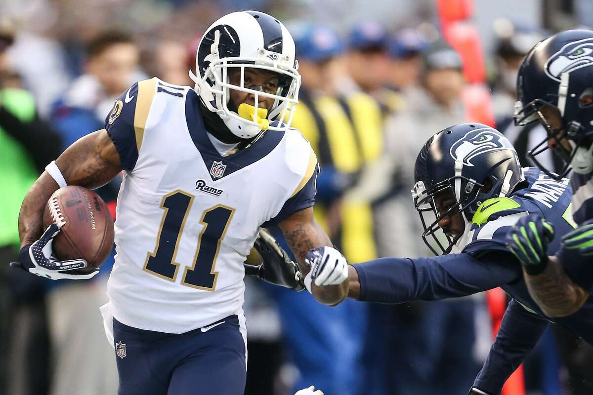Rams wide receiver Tavon Austin runs the ball down the timeline during the second half of a football game against the Seahawks at CenturyLink Field on Sunday, Dec. 17, 2017. (GRANT HINDSLEY, seattlepi.com)