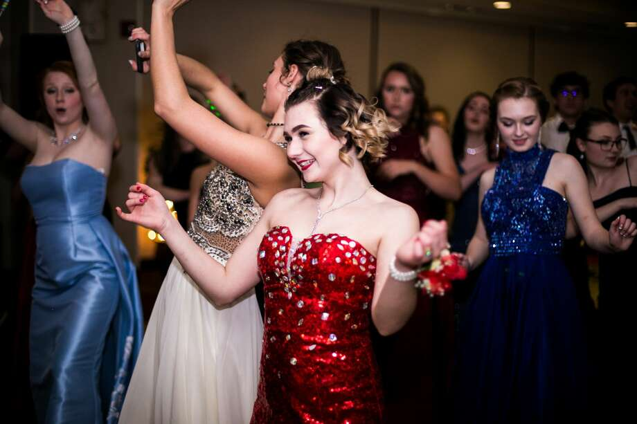 Students dance during Meridian High School's prom on Saturday, April 28, 2018 at Dow Diamond. (Mackenzie Brockman/for the Daily News) Photo: Mackenzie Brockman/for The Daily News