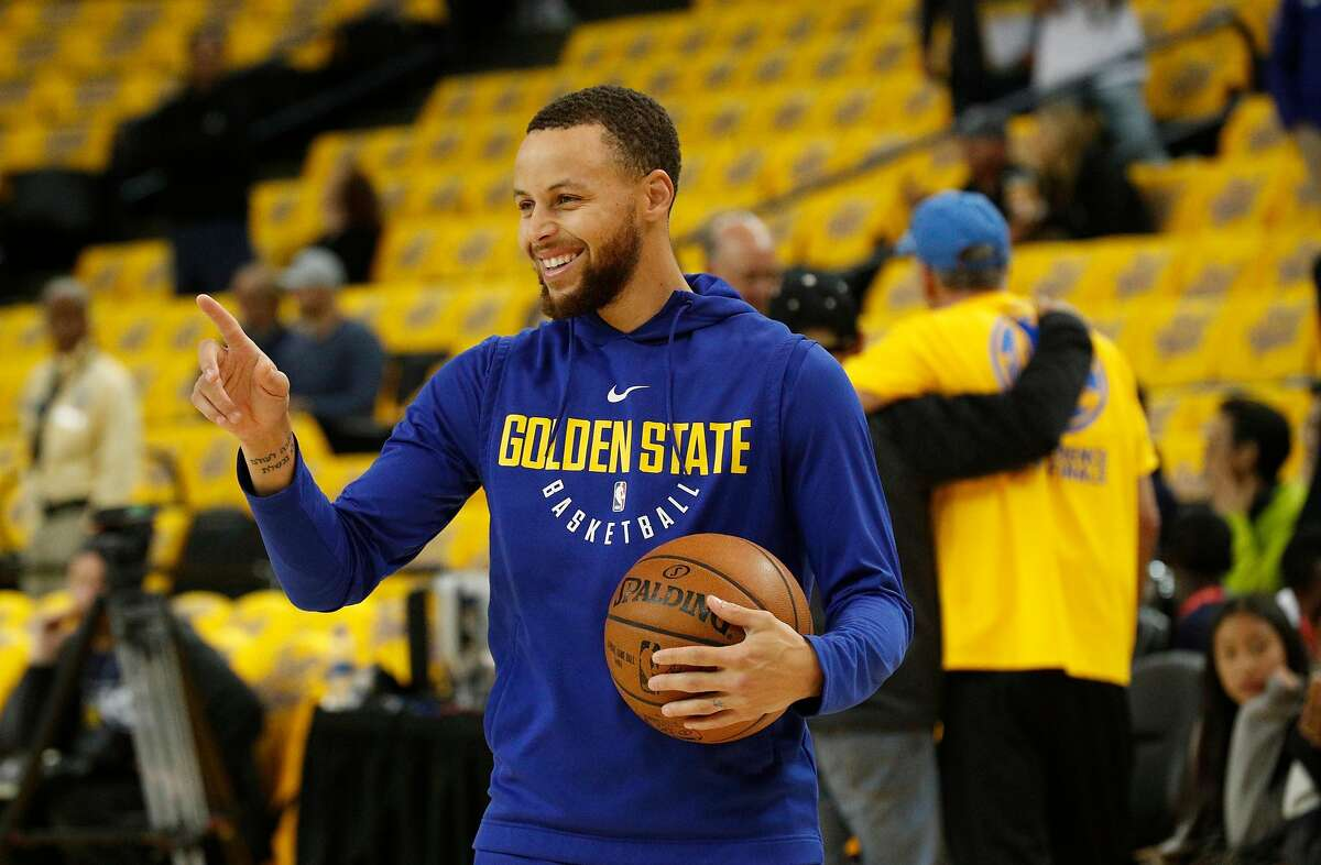Warriors Stephen Curry, 30 as the Golden State Warriors prepare to take on the New Orleans Pelicans in game one of the second round playoffs of the Western Conference finals at Oracle Arena in Oakland, Ca. on Sat. April 28, 2018.